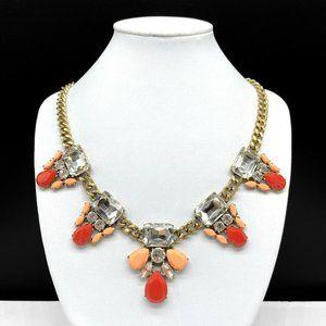 J CREW Pink Peach Coral Clear Rhinestone Necklace